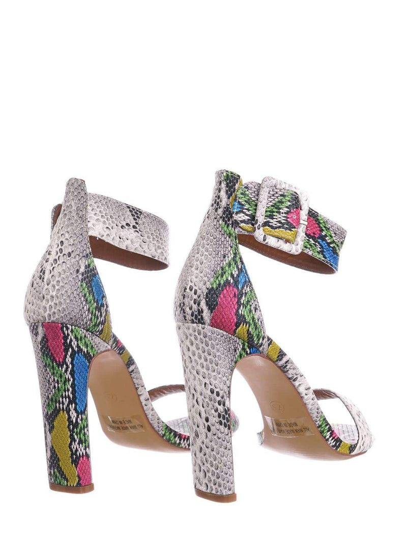 Gray Snake / Thalia6 GrySnk Barely There Thin Wide Block High Heel Sandal -Ankle Strap Open Toe Shoe