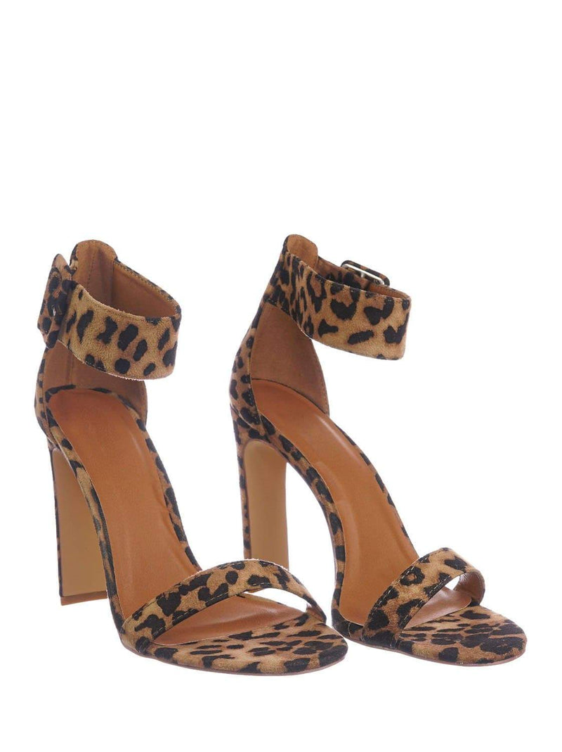 Leopard Brown / Thalia6 Leopard Barely There Thin Wide Block High Heel Sandal -Ankle Strap Open Toe Shoe