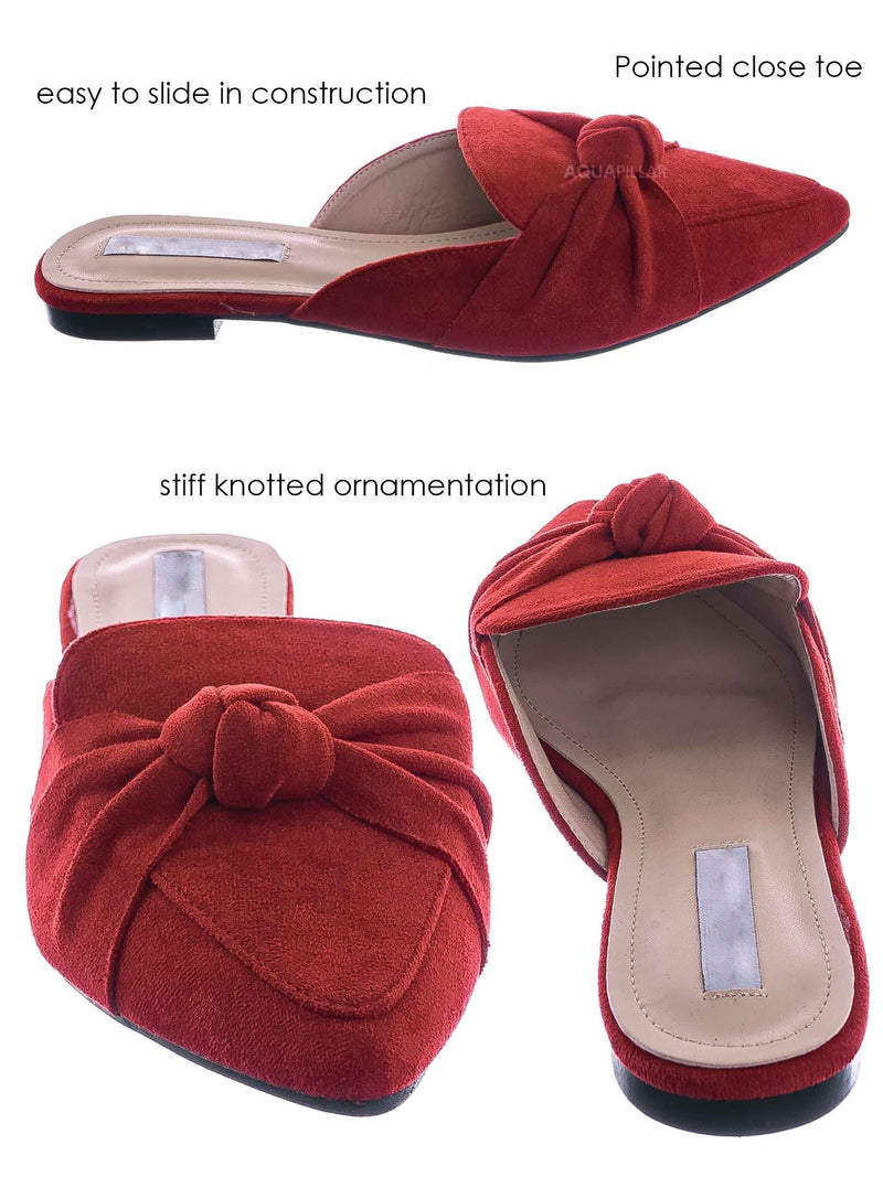 Red / Mules11 Knotted Pointed Toe Slides - Women's Slide In Close Toe Slipper