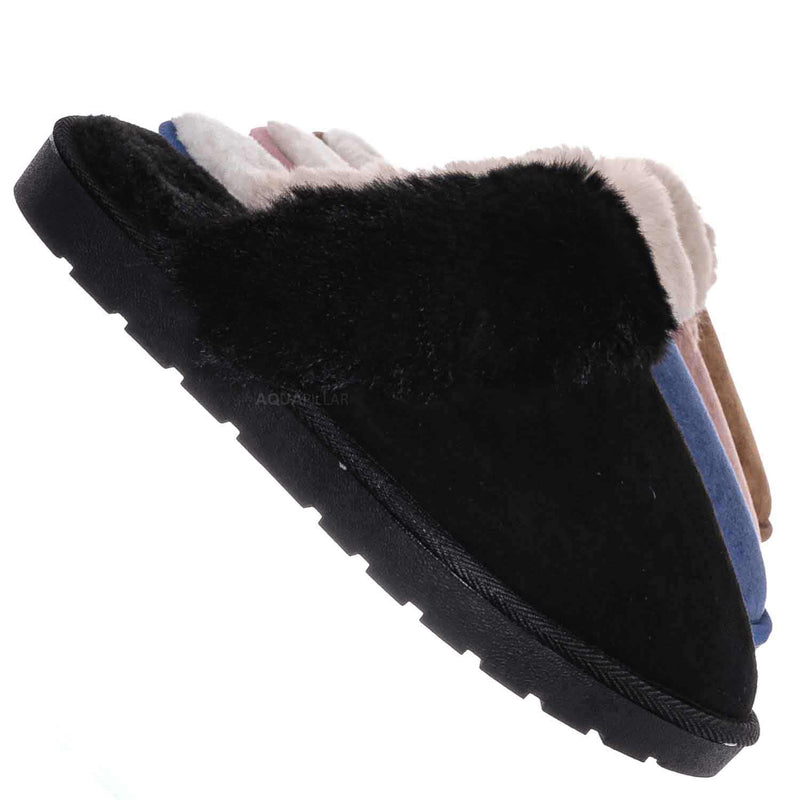 Black / Snuggle01 Winter Cozy House Slipper - Vegan Friendly Faux Fur Slip On Mule