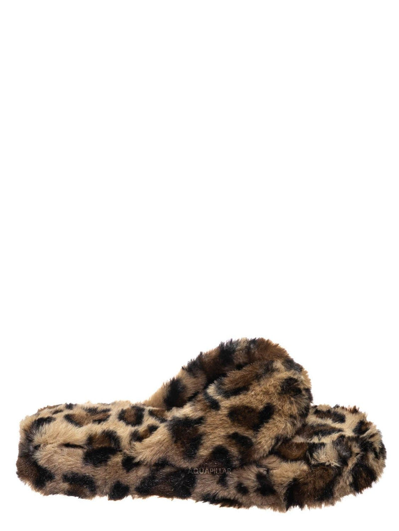 Leopard / Warmness05 Fluffy Faux Rabbit Fur Sandal - Flatform Thong Flip Flop Slipper