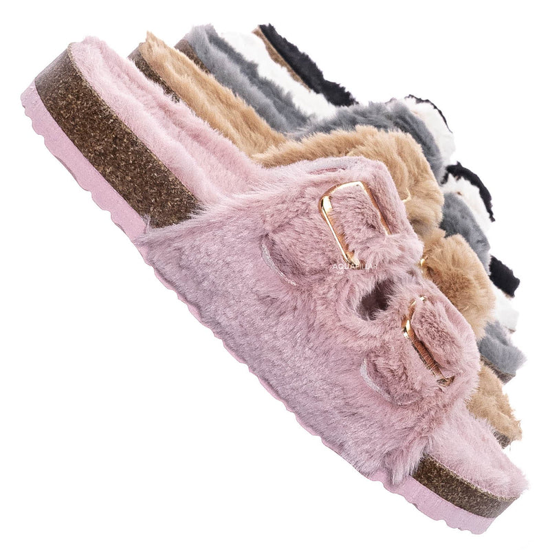 Blush Pink / Defeat63 Faux Fur Molded Footbed Slipper - Furry Slide In Cork Slide Sandal