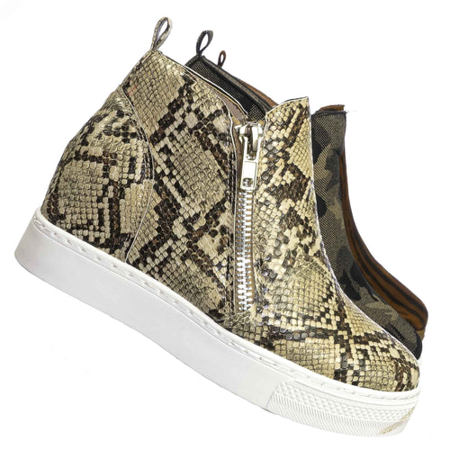 Rise09 Beige Snake Zipper Platform Sneaker - Women Animal Print Fashion Athletic Shoes