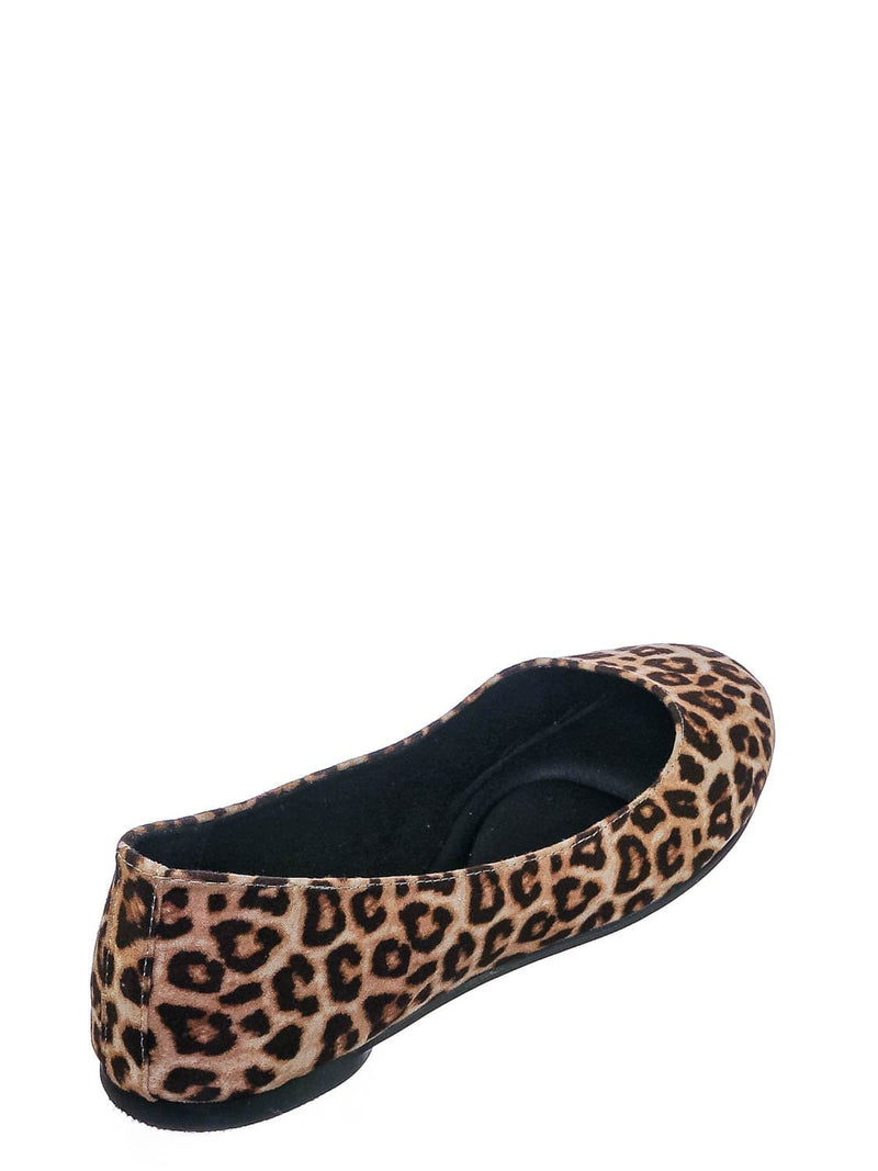 Oatmeal Cheetah / Kreme Foam Padded Round Toe Ballet Flat - Womens Ballerina Loafer Shoes