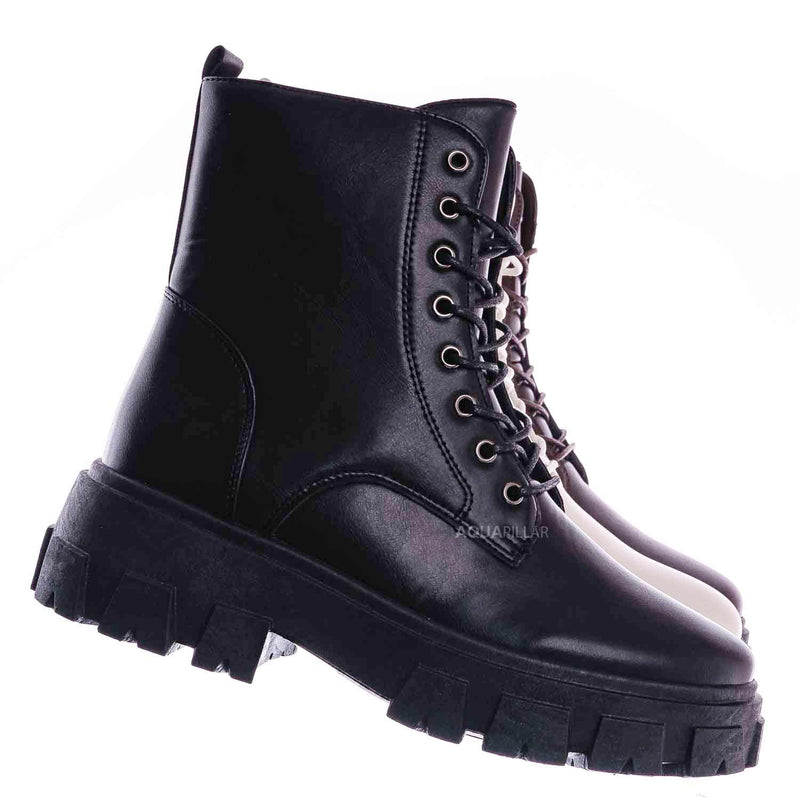 Black / Lux1 Chunky Platform Combat Boots - Threaded Lug Sole Military Fashion Bootie