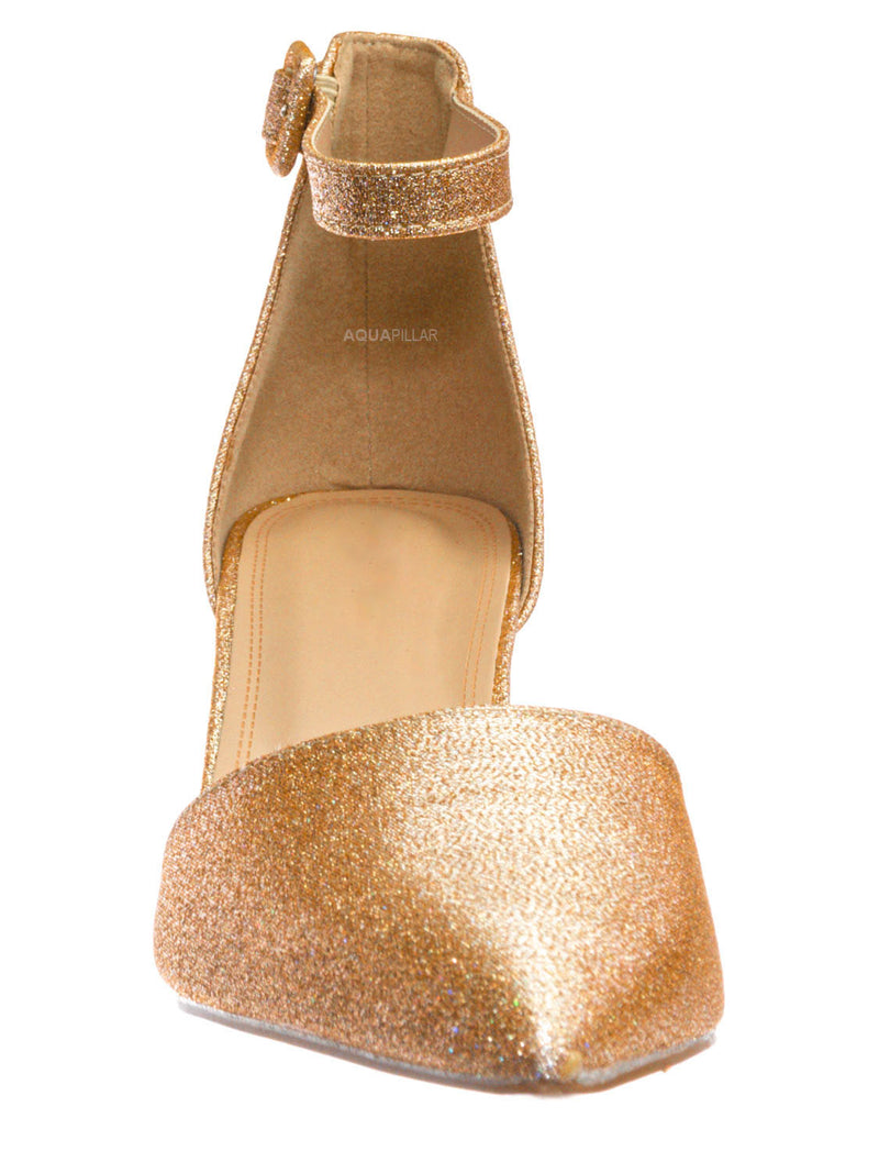 Champagne Gold / Nataly01 Low Block Heel d'Orsay Pump - Pointed Toe Two Piece Office Dress Shoes