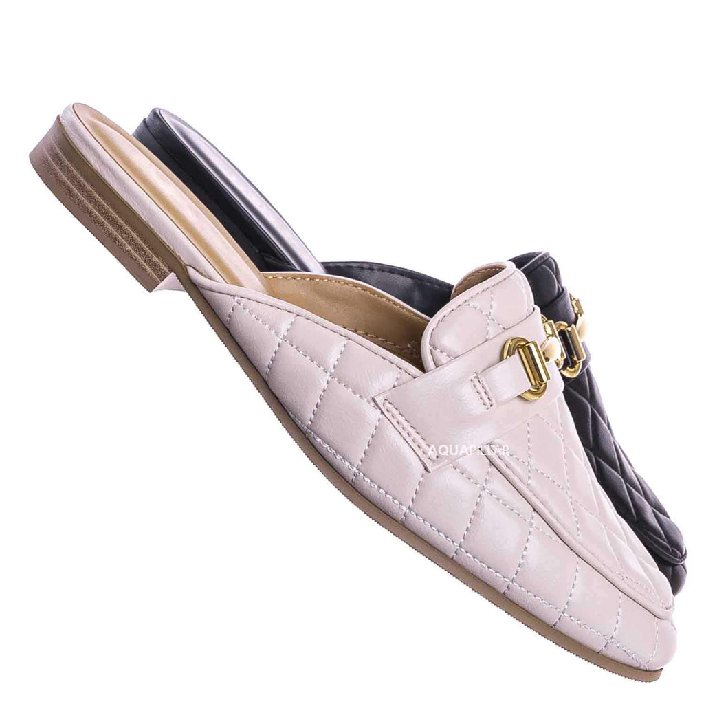 Terrace Puffy Quilted Flat Loafer Mule - Women Slipper w Horse bit Detail
