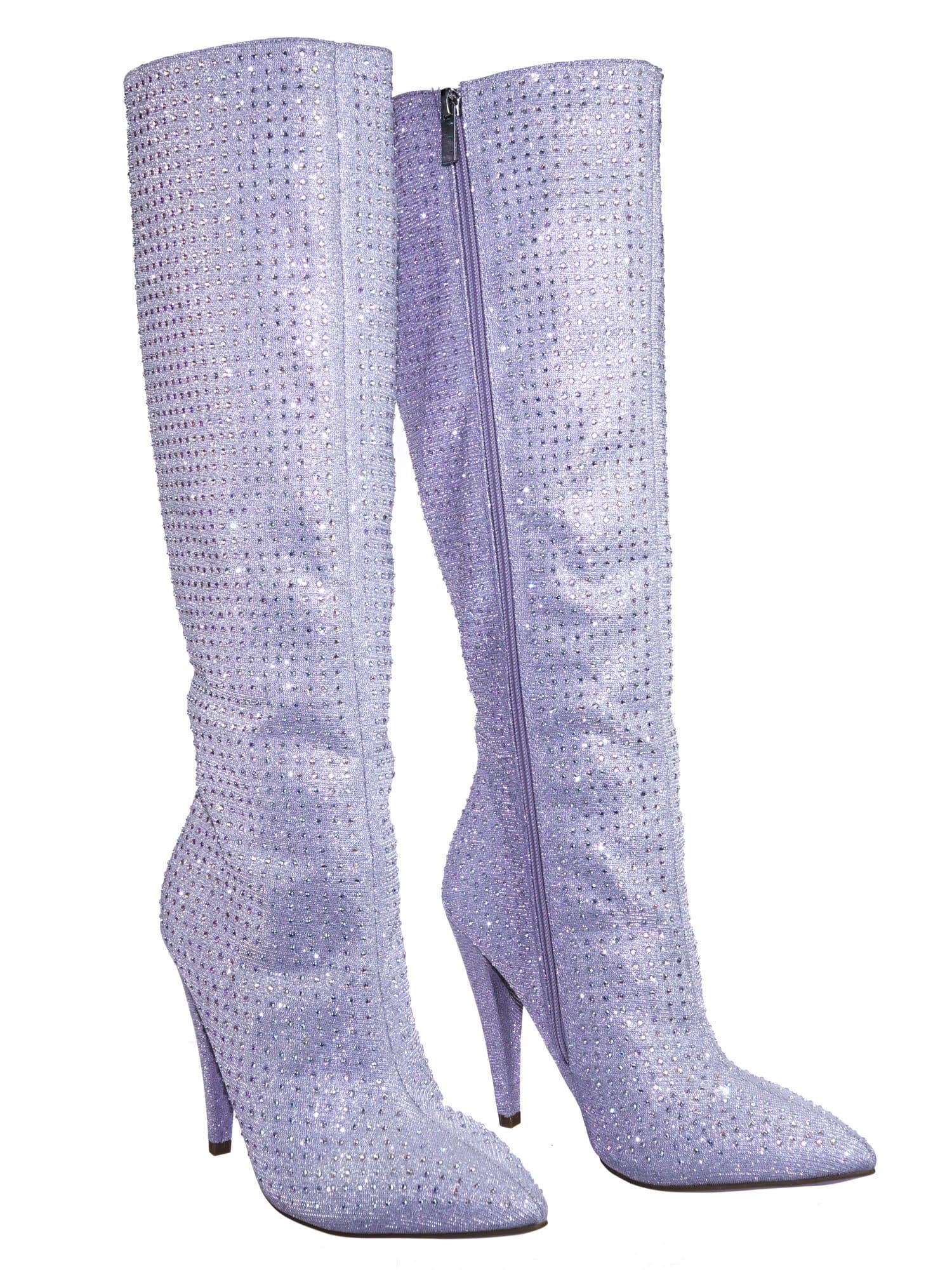 Magnolia13 SlvGlt Rhinestone Crystal w Glitter High Heel Strass Dress Boots