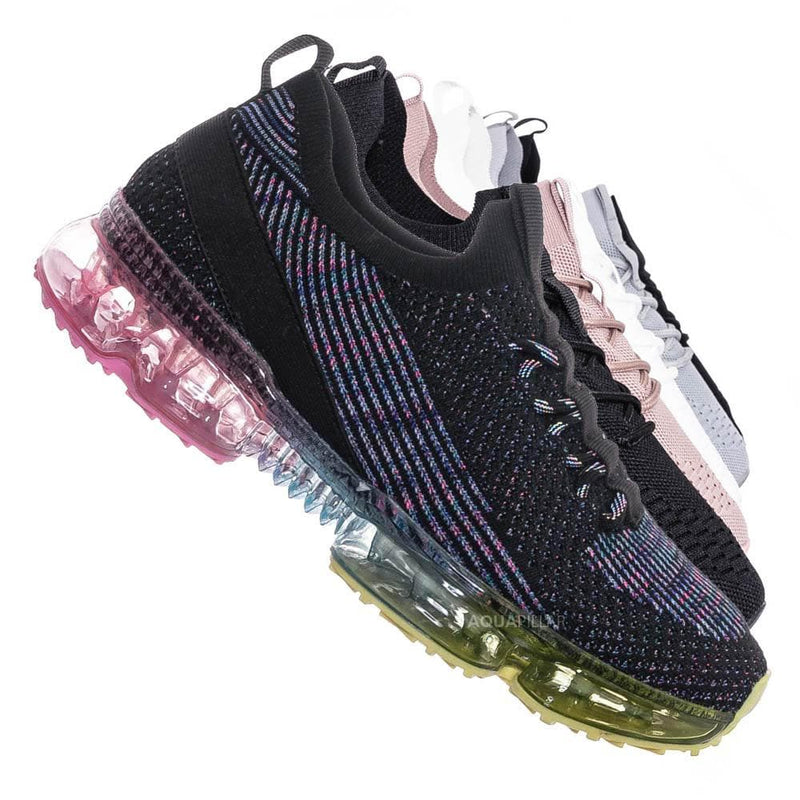Flow19 Stretch Elastic Mesh Sneaker - Festival Lace Up Rubber Air Bubble Cushion