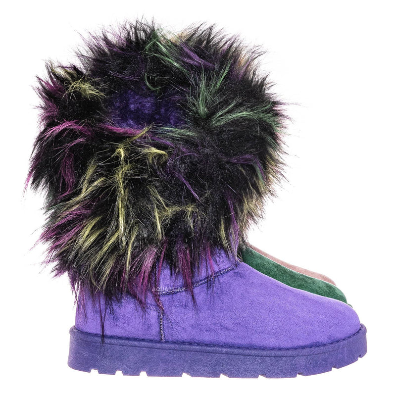Purple / Frozen01 Asymmetrical Faux Fur Mukluks - Womens Winter Cozy Boots