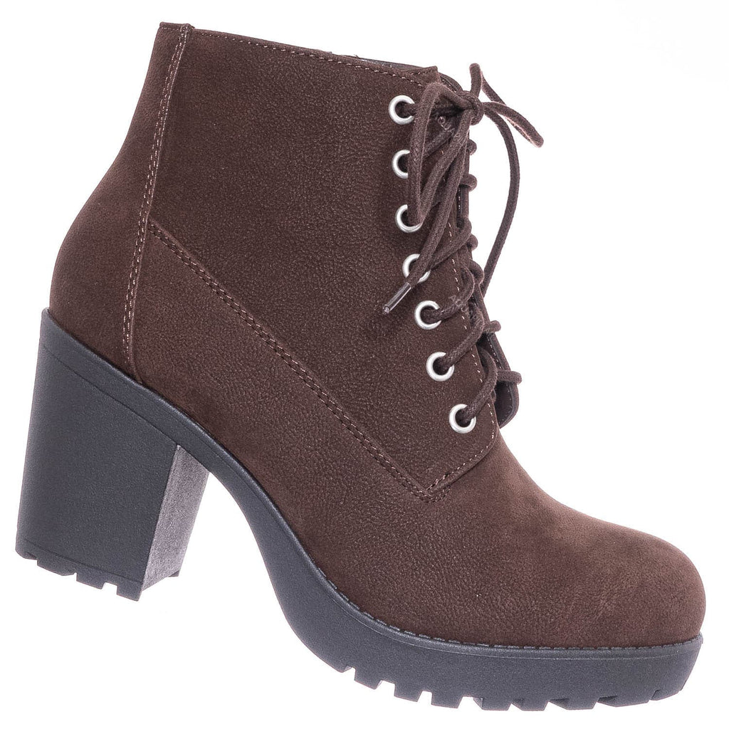 Dark Brown / Second Lug Sole Block Heel Bootie - Women Threaded Lace Up Combat Ankle Boots