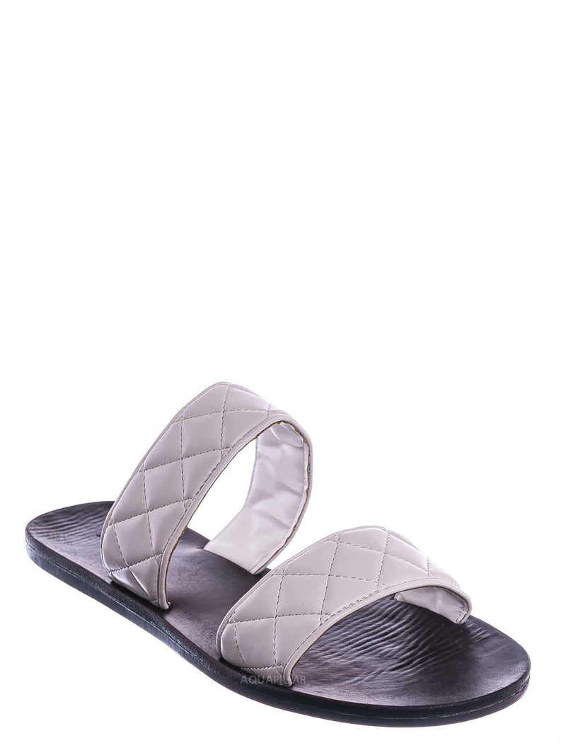 White / Moonbeam65 Quilted Double Strap Slides - Summer Slip On Flat Slipper Sandal