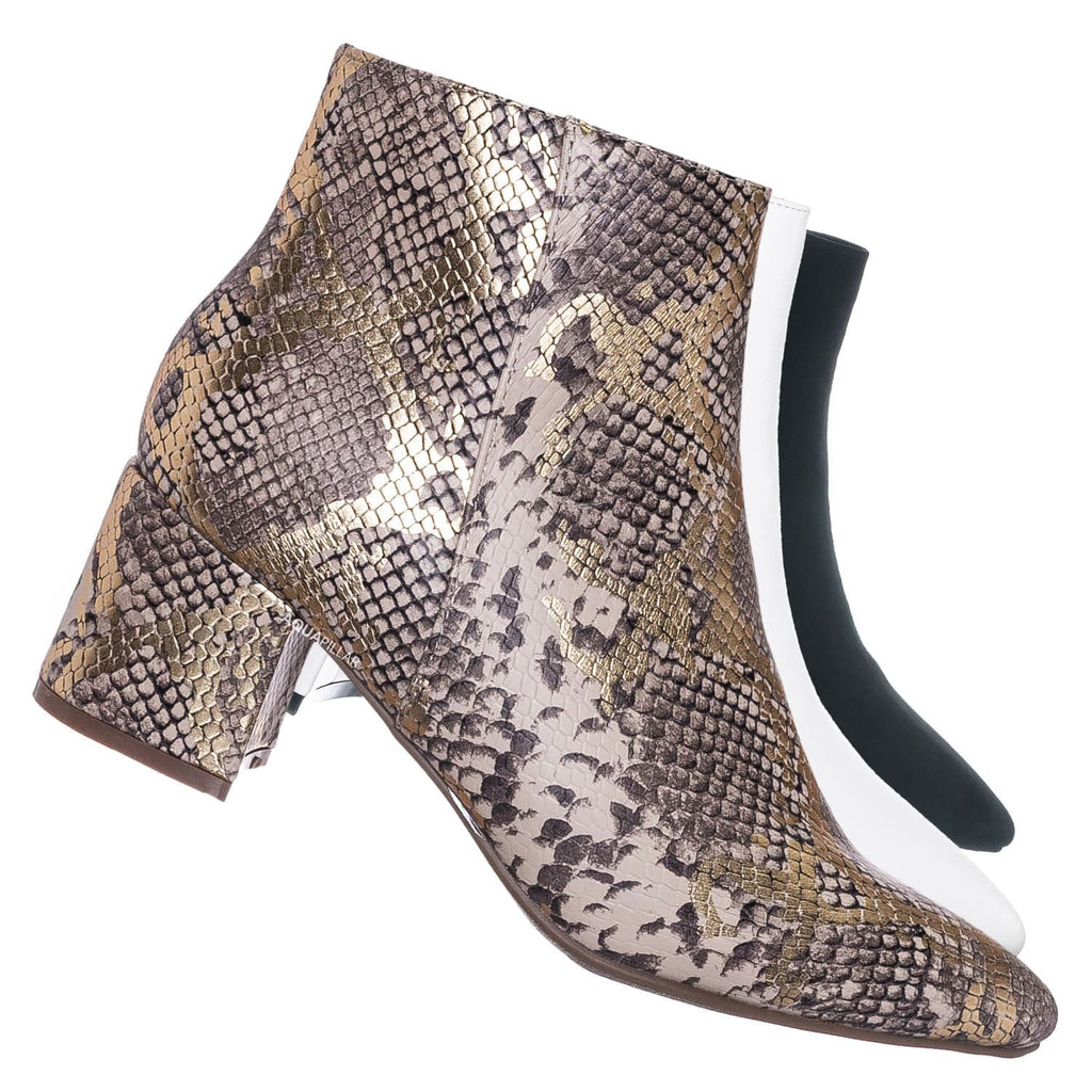 Gold Snake / Rapid01 Pointed Toe Block Heel Dress Bootie - Women Chunky Heel Ankle Boots