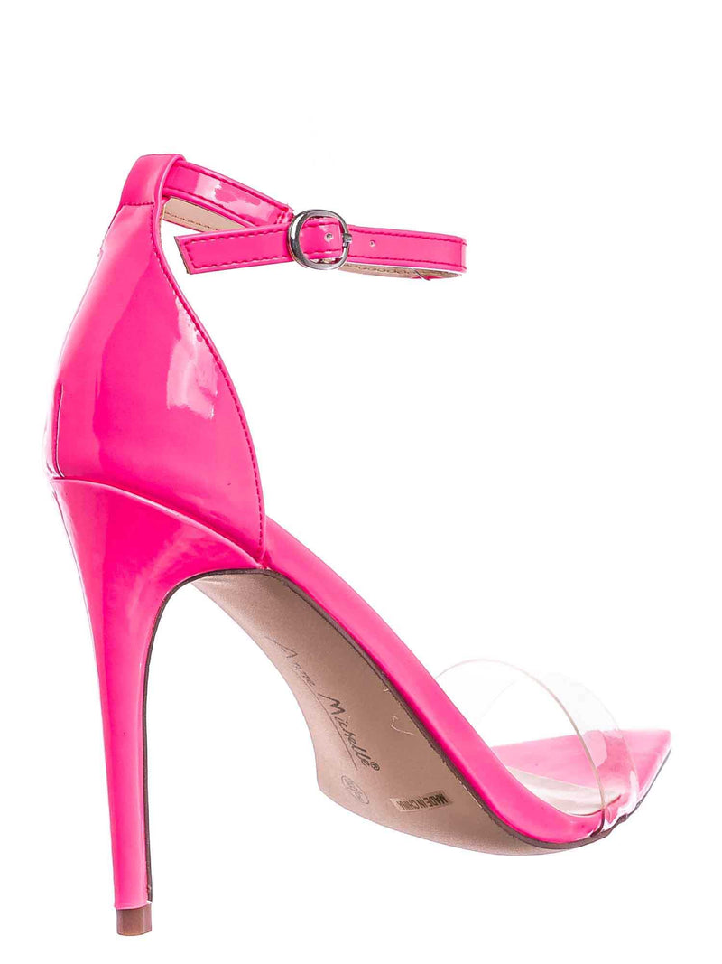 Neon Pink / Exception10 Lucite Neon Stiletto Sandal - Women Clear High Heel Pointed Toe Shoe