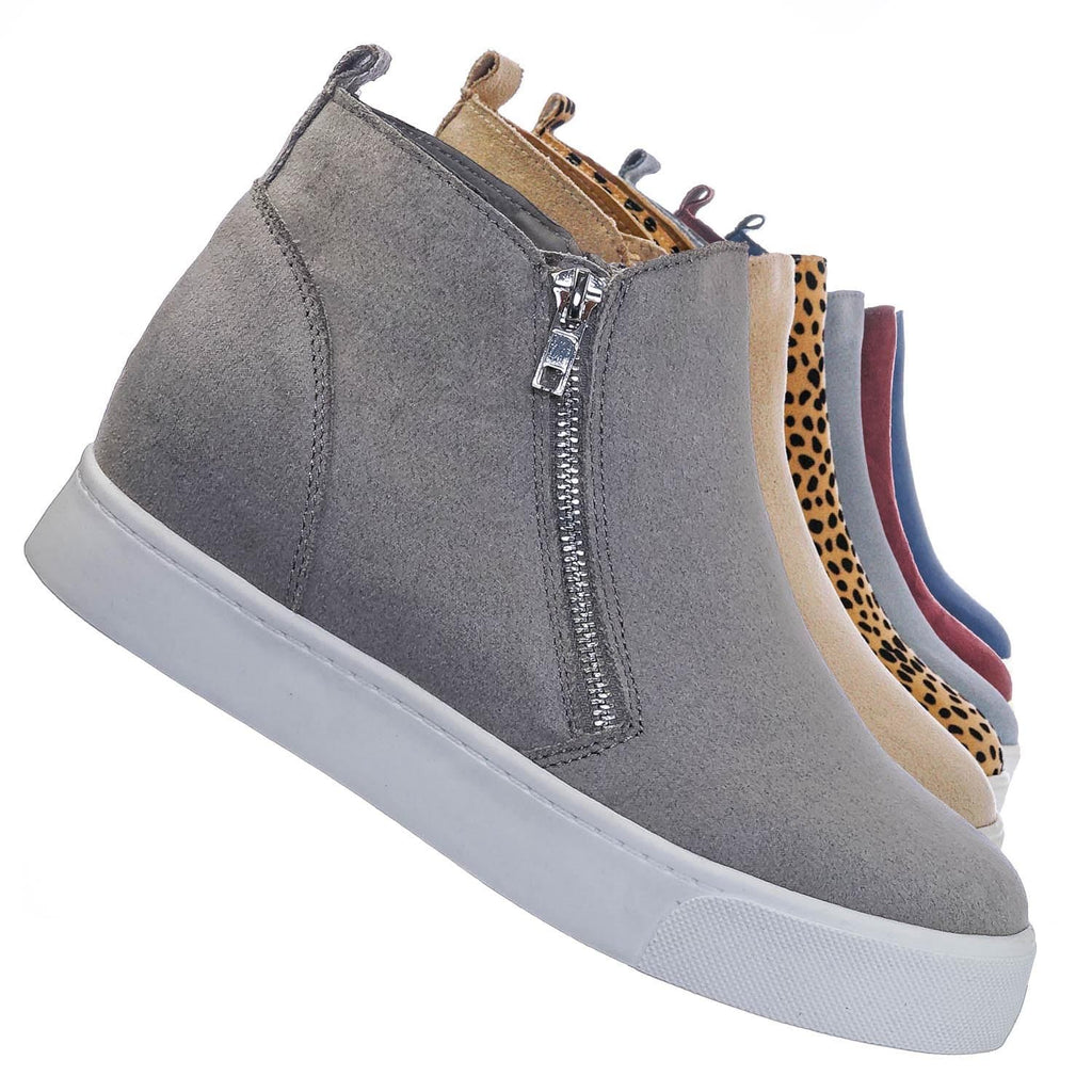 Light Gray ISU / Taylor High Top Hidden Wedge Sneaker  - Women Zipper Laceless Round Toe Shoe