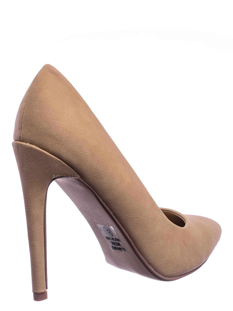 Natural Nubuck / Cindy Classic Pointed Toe Dress Pump - Womens High Heel Stiletto Formal Shoes