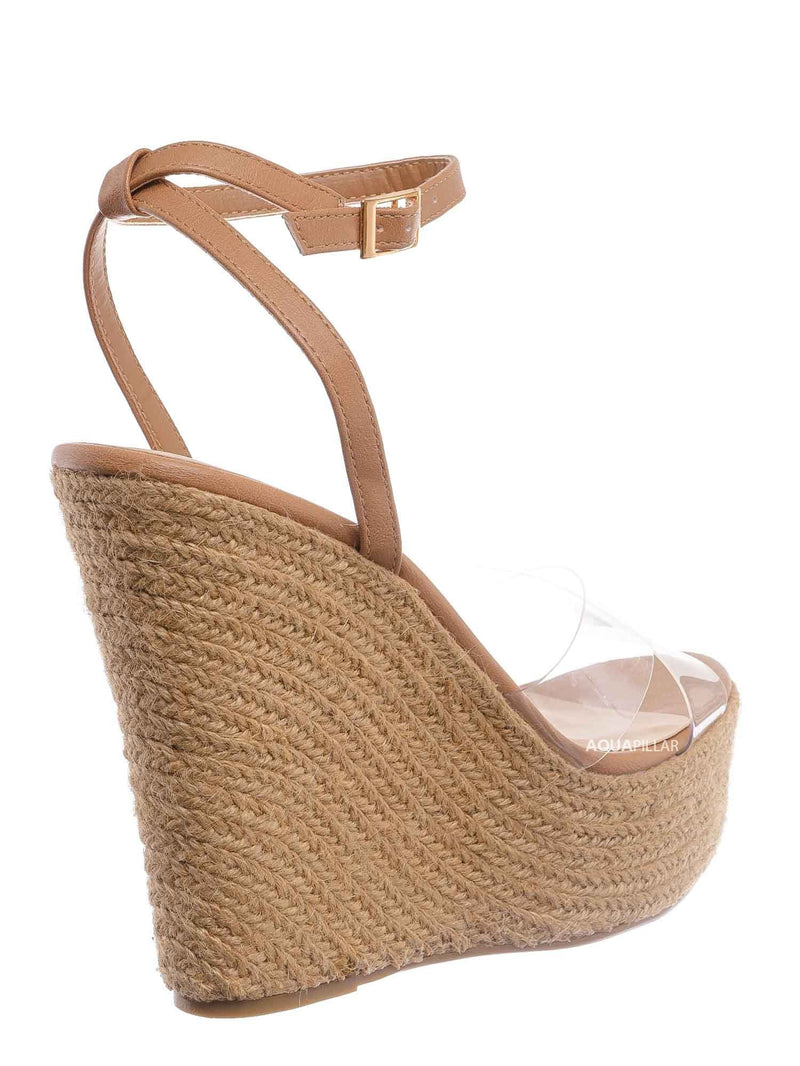 Clear Taupe / Chosen16 Clear Espadrille Platform Wedge Sandal - Women Lucite Clear Heels