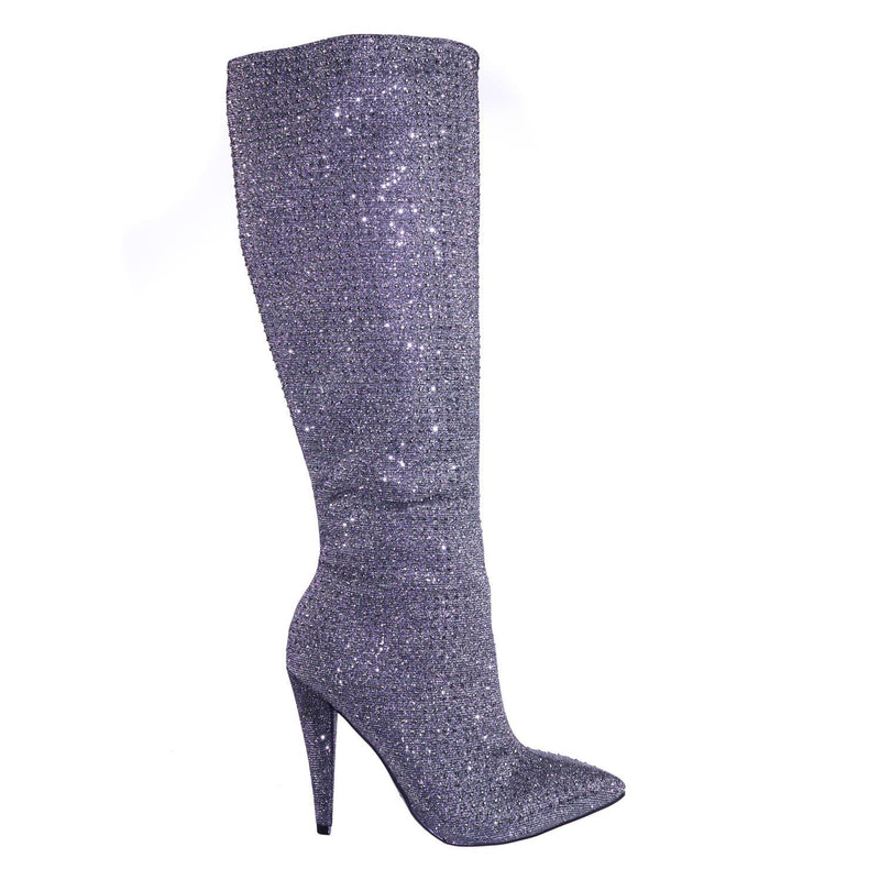 Magnolia13 PwtGlt Rhinestone Crystal w Glitter High Heel Strass Dress Boots