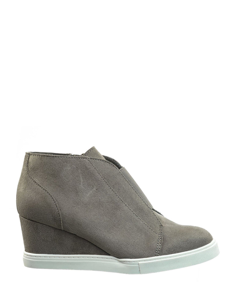 Vesper Gray Isu Hidden Wedge Heel Sneakers - Women Sporty Elastic Shootie