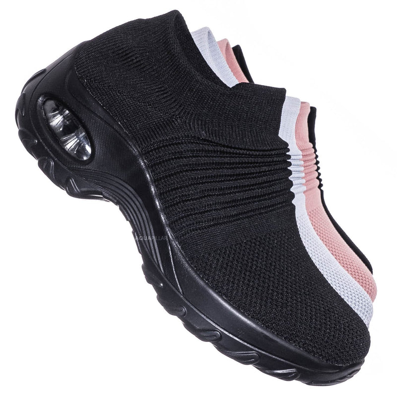 Impact15 Slip On Sock Sneaker - Retro Knitted Cushioned Stretch Knit Snockers