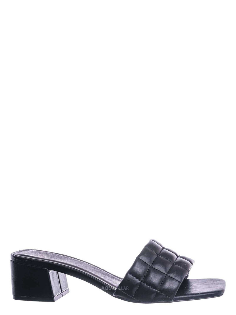 Black / Byway Puffy Quilted Block Heel Mule - Women's Open Squared Toe Retro Slides