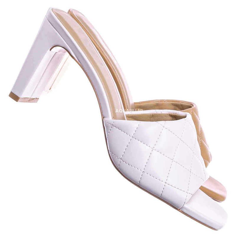 White / Jitter Slim Block Heel Quilted Mule - Womens Thin Flat Heel w Open Squared Toe