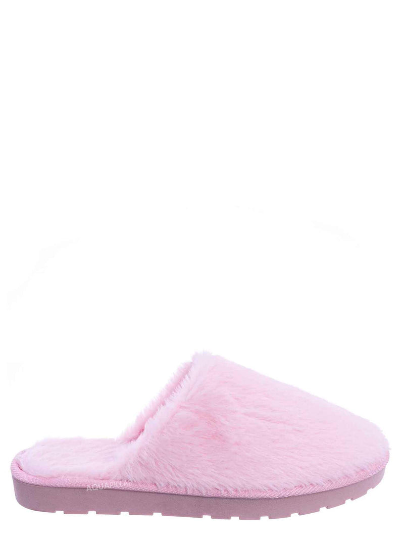 Pink / Snuggle07 Furry Flatbed Slipper Mule - Mukluk Winter Slip On For Men & Women