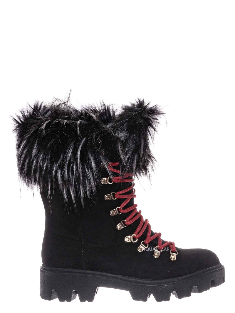 Black F-Suede / Force11 Faux Fur Combat Boots - Fluffy Military Vegan Furry Shoes