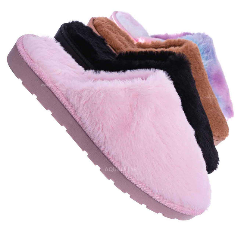 Snuggle07 Furry Flatbed Slipper Mule - Mukluk Winter Slip On For Men & Women