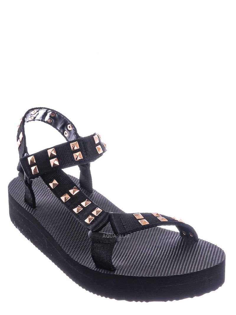 Black / Sweetdream02 EVA Sporty Sandal w Metal Stud Detail - Flatform Foam Comfy Shoe