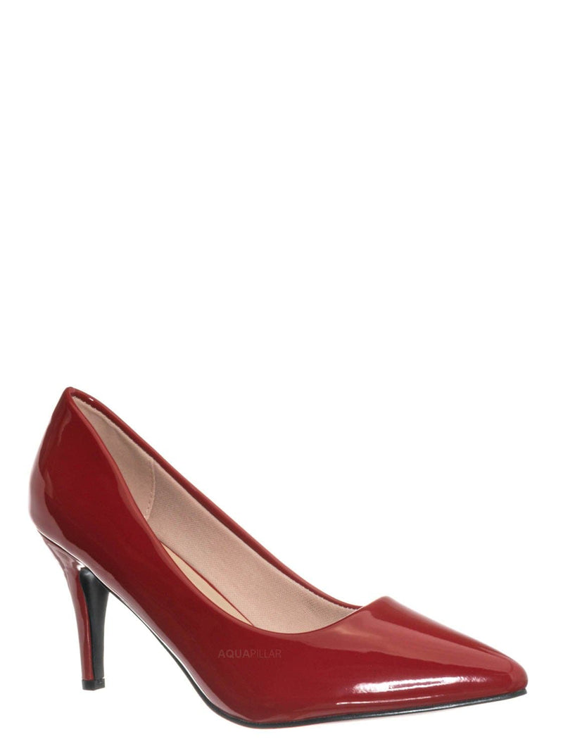 Red / Sanzi2 Low Stiletto Heel Pumps - Slip On Dress Shoes Solid Or Animal Prints