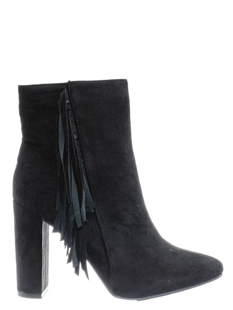 Black / Lisa12 20s Retro Fringe Ankle Bootie - Flappy Tassel Block High Heel Dress Boots