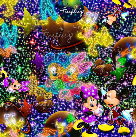 UNDER THE STARS FABRIC with mickey and minnie r36 retail