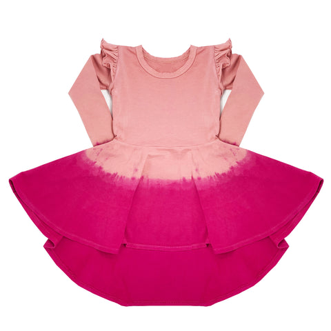 rose pink ombre hand dyed dress for toddler girl, kids clothes, girls clothes, dresses for girls