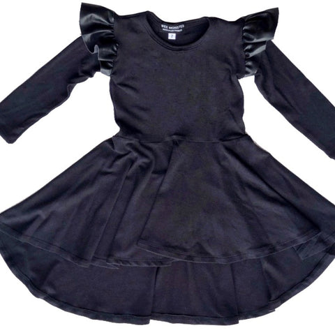 black bamboo cotton leather ruffles dress for toddler girl, kids clothes, girls clothes, dresses for girls