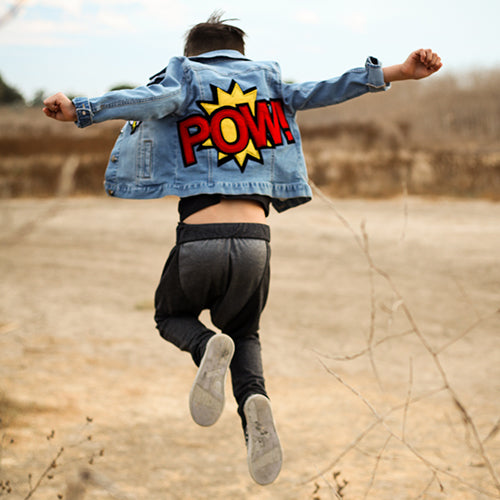 denim/jean POW comic jacket kids boys
