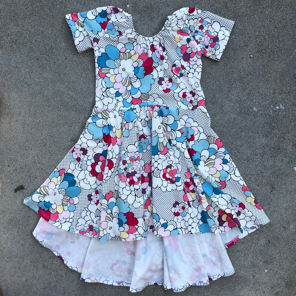 pops of flowers, floral, graphic print dress for toddler girl, kids clothes, girls clothes, dresses for girls