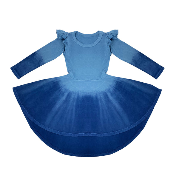 denim blue ombre hand dyed dress for toddler girl, kids clothes, girls clothes, dresses for girls