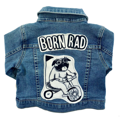 denim and jean born rad pug dog funky print graphic print jacket kids boys girls