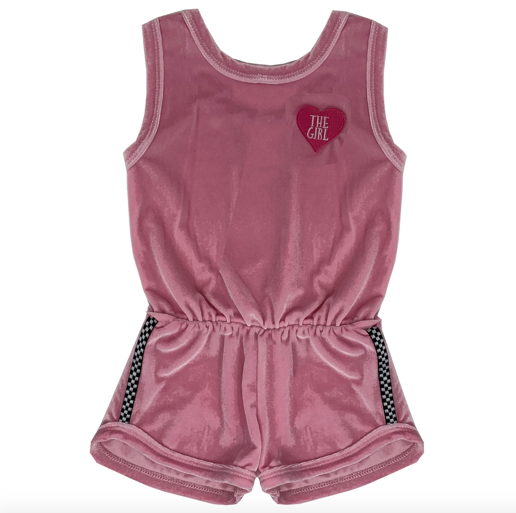 The Girl Patch - Pink Velvet Romper