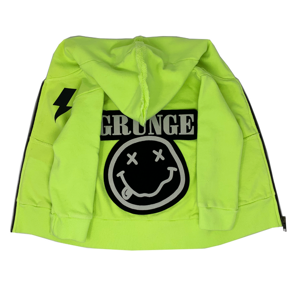 Grunge Neon Zip Hoodie - Unisex for Boys and Girls