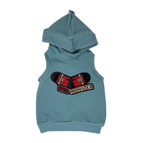 Skateboard Blue Hoodie Vest - Unisex for Boys and Girls