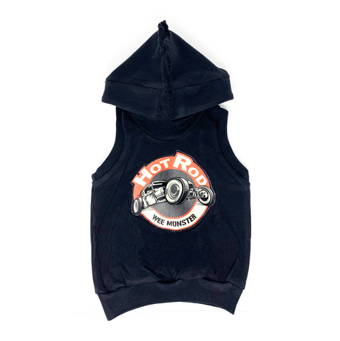 Hot Rod Black Hoodie Vest - Unisex for Boys and Girls