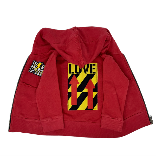 LOVE Red Zip Hoodie - Unisex for Boys and Girls