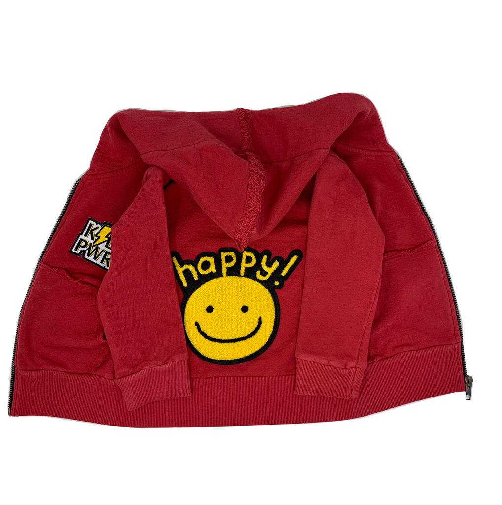 Happy Red Zip Hoodie - Unisex for Boys and Girls