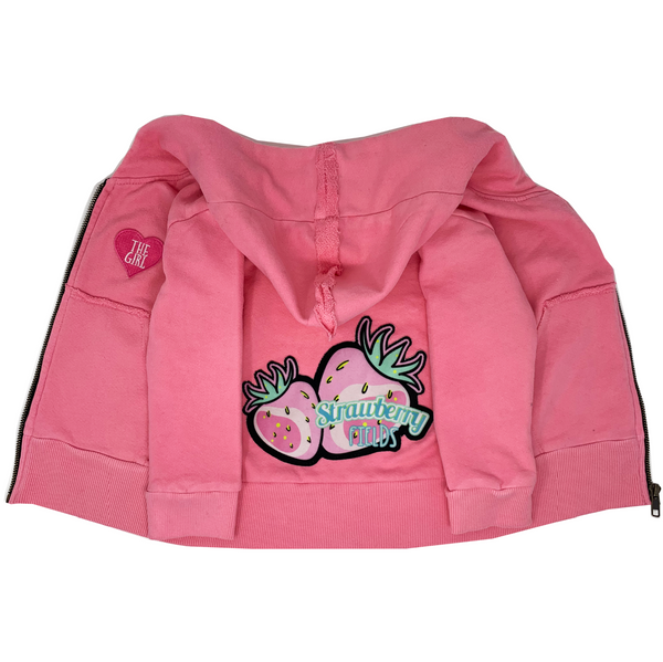 Strawberry Fields Pink Zip Hoodie - Unisex for Boys and Girls