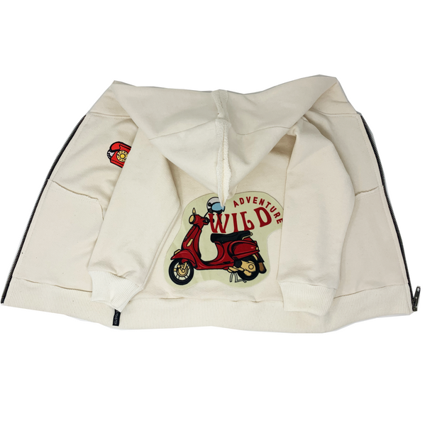 Wild Adventure Cream Zip Hoodie - Unisex for Boys and Girls