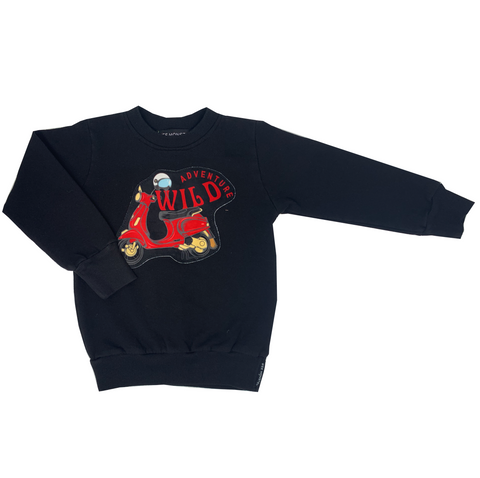 Wild Adventure Black Sweatshirt - Unisex for Boys and Girls