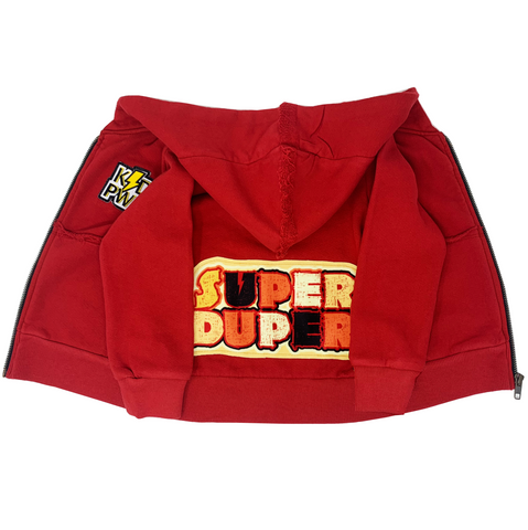 Super Duper Red Zip Hoodie - Unisex for Boys and Girls