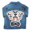 denim and jean tiger hand drawn patch print graphic print jacket kids boys girls